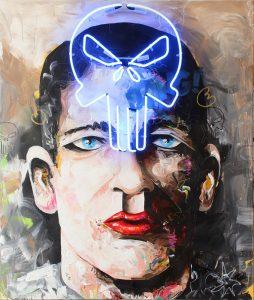 Punisher // 130 x 110 / acrylic, neonsystem on canvas