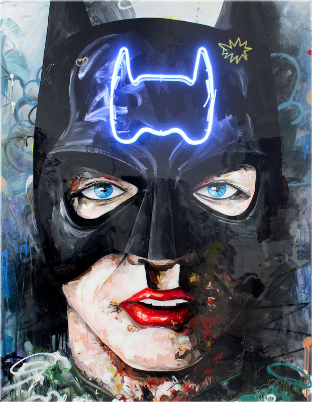 Batman blue // 160 x 130 // acrylic, neon on canvas